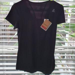 REEBOK Womens Black Jewel Neck Short Sleeve Top
